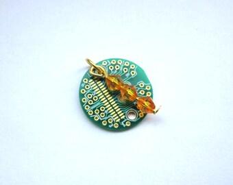 Gold Circle Circuit Board Bracelet Charm
