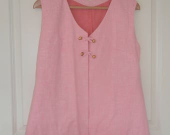 60's Pink Dress with Gold Buttons