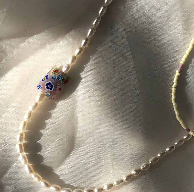 Freshwater Pearl Beaded Necklace Harry Styles Inspired Necklace Elegant Glass Beaded Necklace