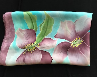 Turquoise and plum silk scarf, Hand painted silk scarf, Ladies square silk scarf