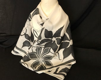 Black & White square silk scarf, Hand painted silk scarf, Floral silk scarf