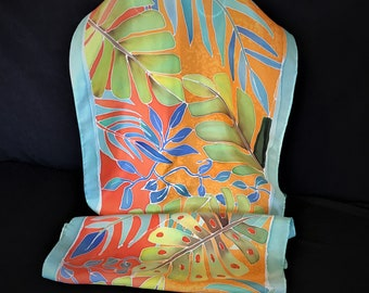 Luxurious silk scarf in leafy design, Turquoises and Copper hand painted silk scarf, Long silk scarf, Tropical leaves scarf (225)