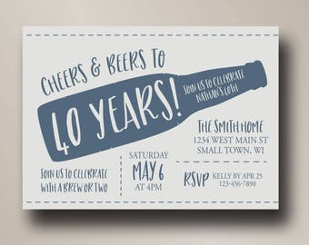 40th birthday invitation | cheers and beers | cheers to 40 years | beer party | digital invitation template