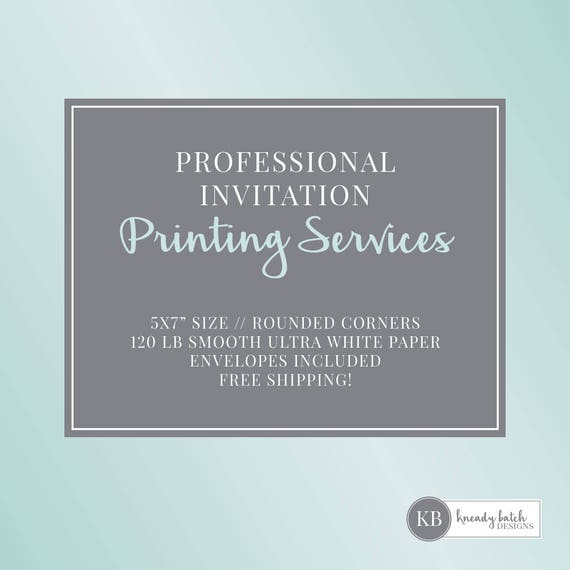 invitation printing service 5x7 includes envelopes etsy
