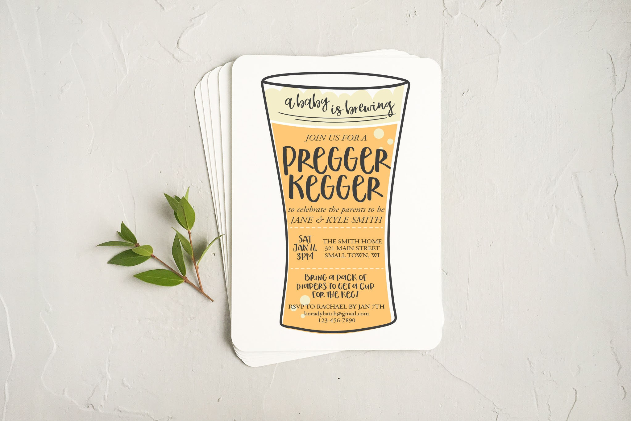 Coed Baby Shower Invitation A Baby Is Brewing Printable Etsy