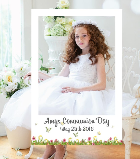 First Holy Communion Frame Photo Booth Prop Digital File Etsy