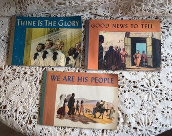 Vintage Children's Christian books, 1940's 3 together, ppbk Westminster Press, read, display, craft 50 pgs each, ephemera religious Bible
