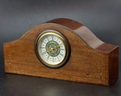 Mercedes Wooden Mantel Clock With Battery Powered Movement West Germany