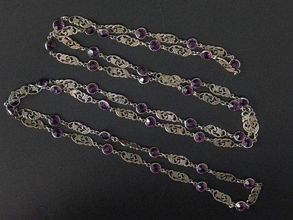 Edwardian White Metal Amethyst Glass Necklace Long