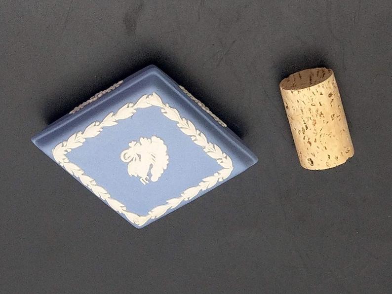 Wedgwood Blue Jasperware Rhombus Shape Trinket Box