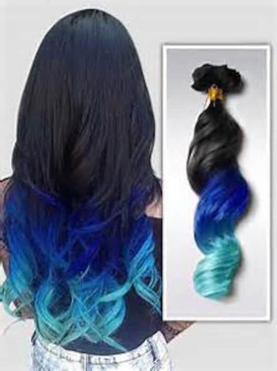 Blue Green Ombre Weft Hair Extensions For Weaving Clip In Or Etsy