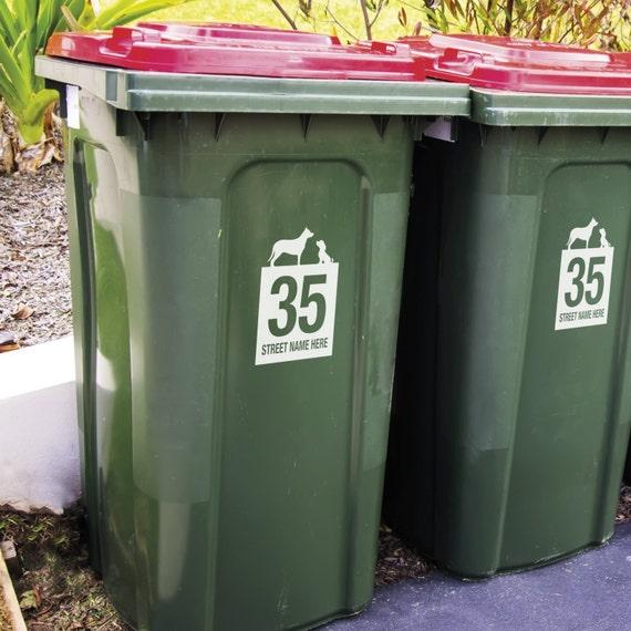 3 x WHEELIE BIN STICKERS Recycle /& Garden Number and street name Dog design