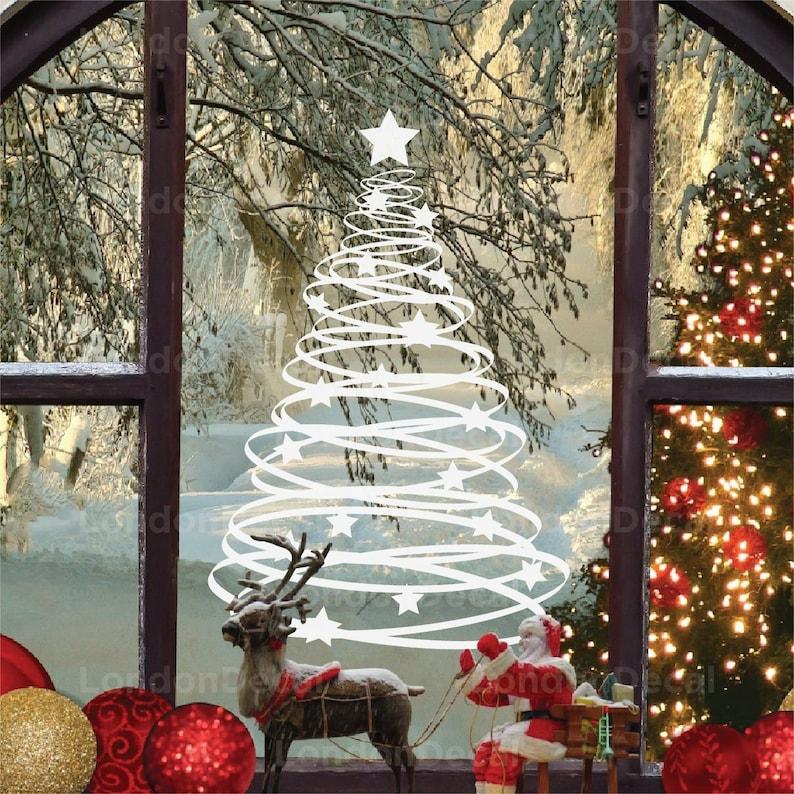 Swirly Christmas Tree Window Wall Vinyl Decal Sticker