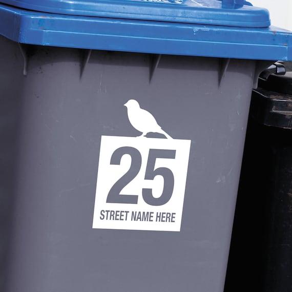 3X wheelie bin custom house numbers and street name Vinyl stickers