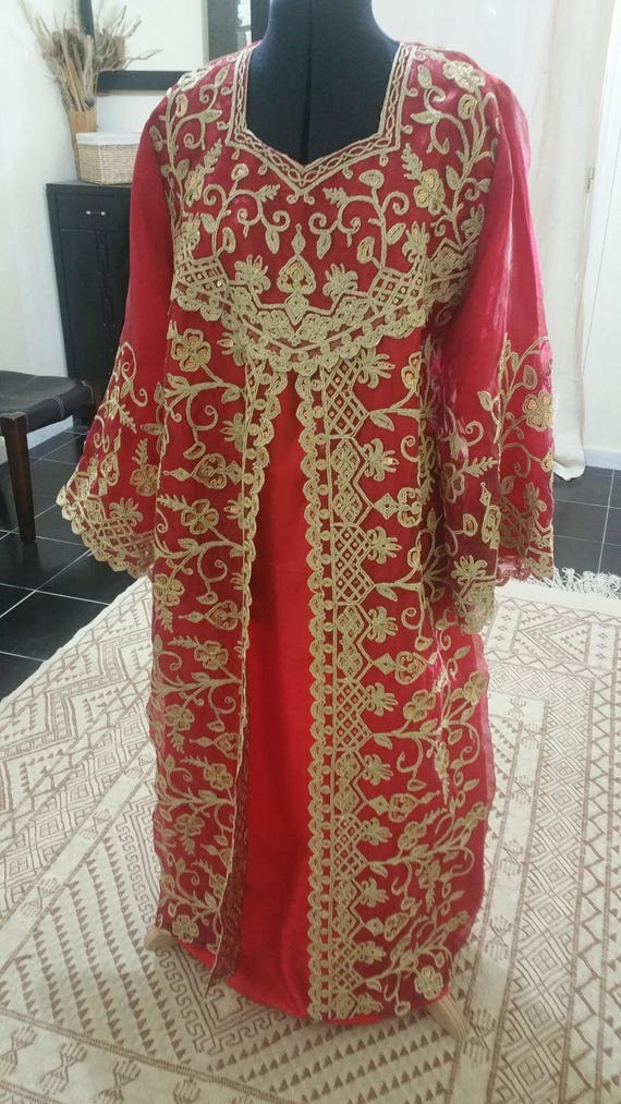 for wedding dress GORGEOUS gold engagement couture Oriental red and or Caftan 0qrx0C5f