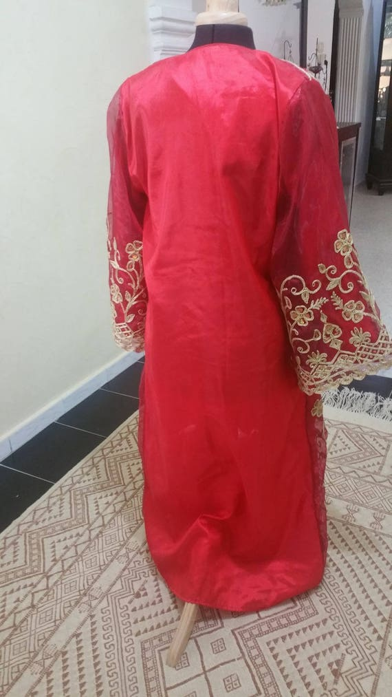 Oriental gold dress red wedding couture or Caftan and for engagement GORGEOUS EqSUfw