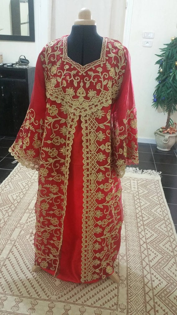 red engagement Caftan GORGEOUS couture or gold dress for Oriental and wedding vtddqRwx4