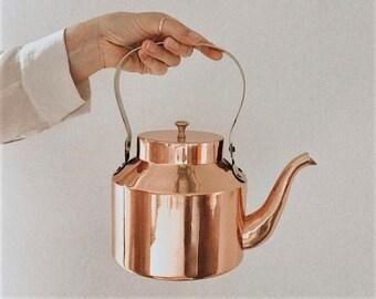 Copper Kettle - Tea Kettle - Kettle with Brass Handle - Vintage Tea Kettle - Antique Kettle - Stovetop Kettle - Pot - Copper - English