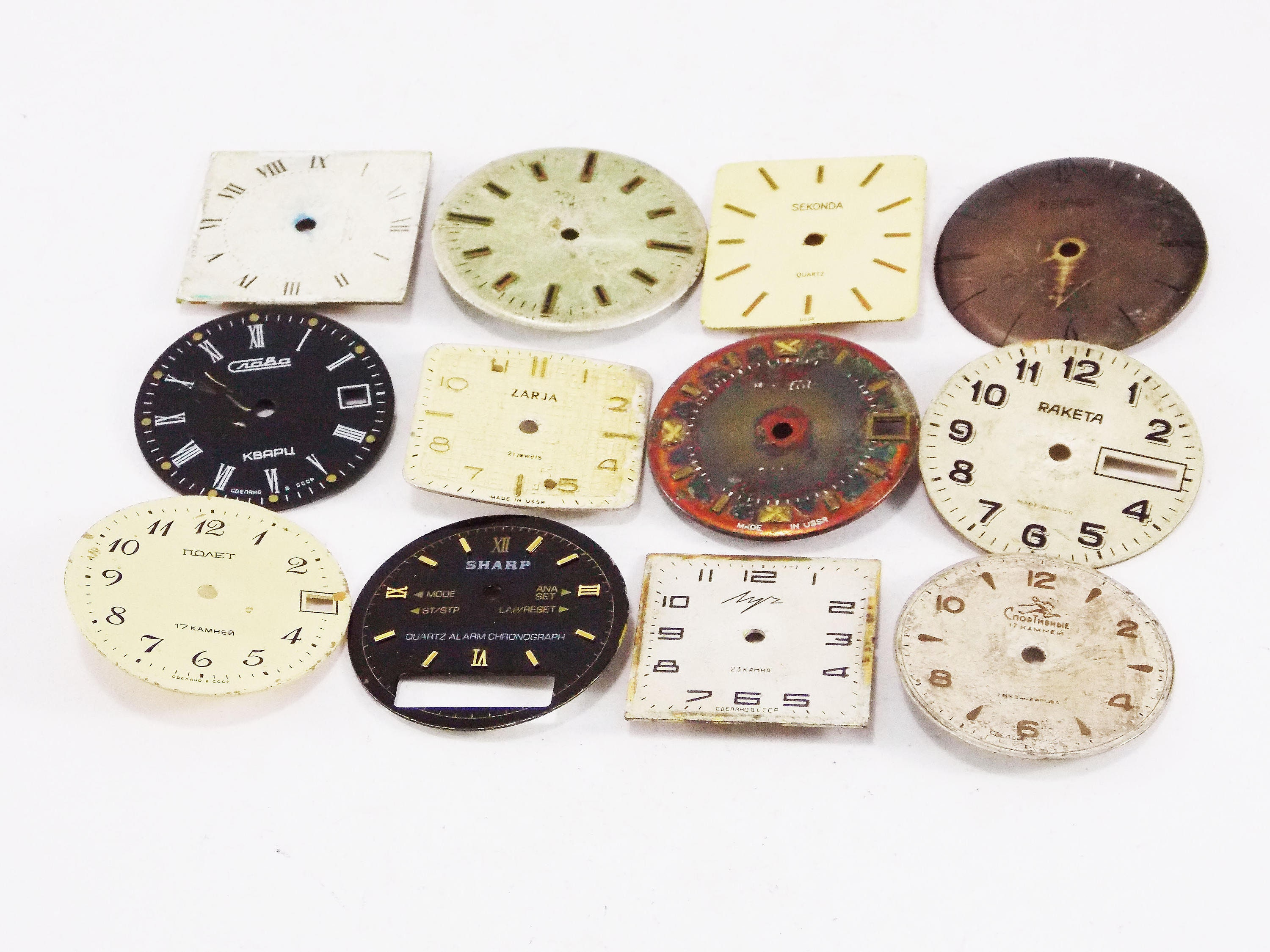 Watch dials clock Face Steampunk supplies Unisex assorted charms face  circles decor scrapbooking collage clock retro watches old face parts