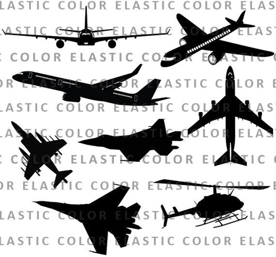 Airplane Svg Clipart Silhouette Airplane And Aircraft Vector Etsy