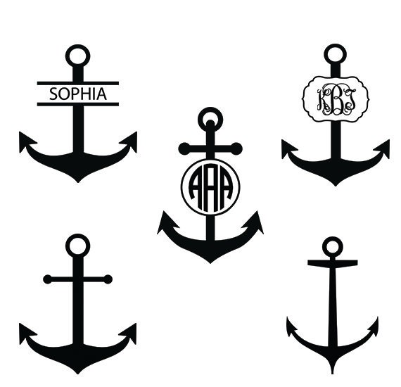 Anchor Monogram Svg Anchor Silhouette Files Anchor With Etsy