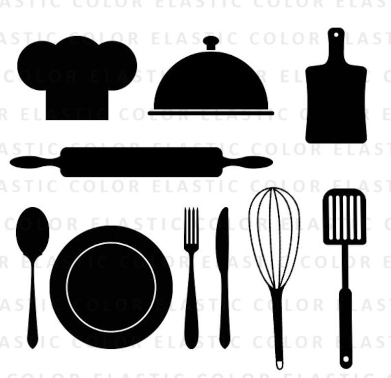 Kitchen Svg Kitchen Utensils Clipart Restaurant Clip Art Chef Hat Spoon Fork Rolling Pin Vector Digital Files Svg Dxf Eps Png