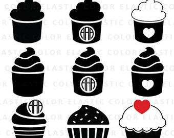 Cupcake svg - cupcake clipart - cup cake digital download  - cupcake silhouette  printable and vector cut file svg, eps, dxf, png