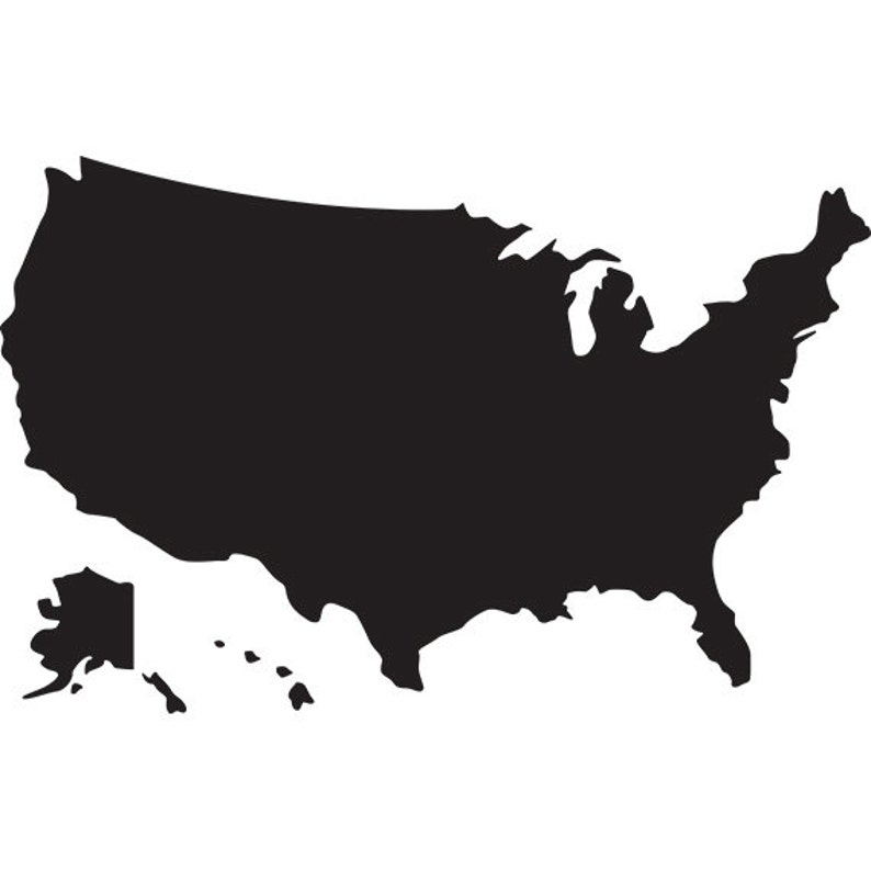 Usa map svg silhouette clipart usa map without states and | Etsy