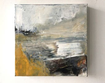 SWEPT ALONG.. landscape, abstract landscape, abstract painting, canvas art, contemporary art, small painting,wall art, modern art