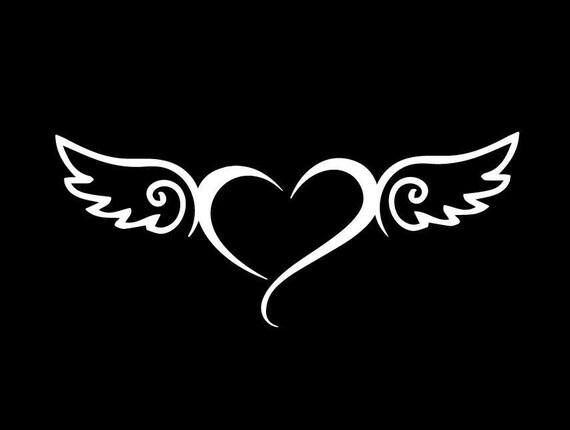 Angel Heart Angel Wings Cute Sticker Vinyl Decal Car Window Etsy