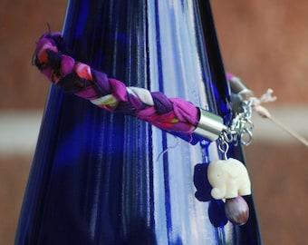Braided Fabric Scrap Bracelet with Elephant Charm
