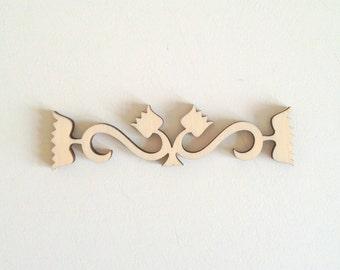Laser cut wood ornamental border 340 / Wall decal / Decals / Wood ornaments / Wood cutouts / Laser cut wood / Borders / Wood shapes / Wood