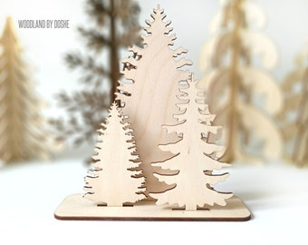 little woodland forest christmas fir tree wooden tree woodland tree wood tree laser cut tree laser cut wood tree decor nursery