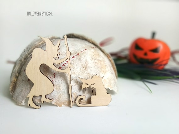 Halloween Witch Ready To Paint Laser Cut Wood Ornaments Etsy