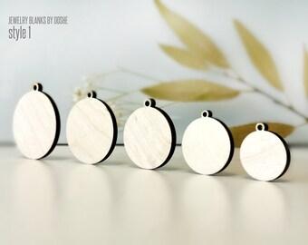 Round PENDANT WOOD BLANKS - Laser cut wood jewelry craft supplies