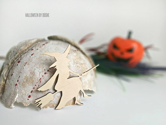 Halloween Witch Ornaments Ready To Paint Laser Cut Wood Etsy