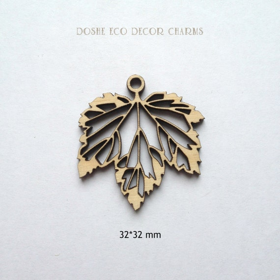 Airy laser cut currant leaves wood pendants wood jewelry etsy image 0 aloadofball Image collections
