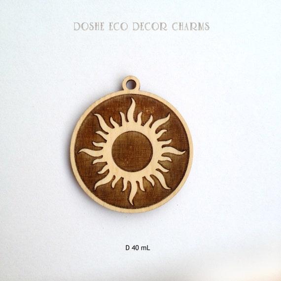 Bright laser engraved sun wood pendant laser cut wood sun etsy image 0 aloadofball Image collections