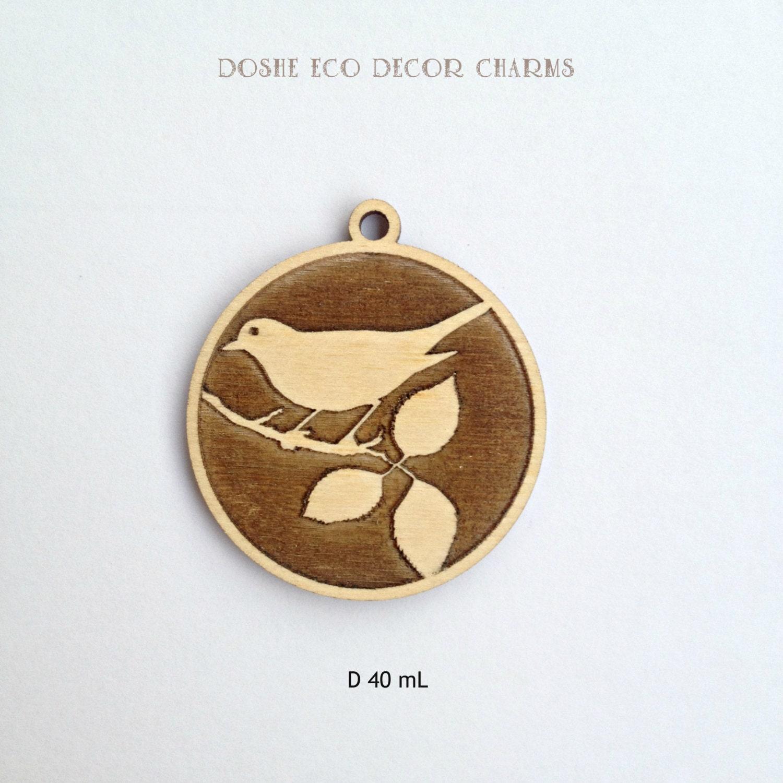 zoom Tender laser engraved BIRD wood pendant