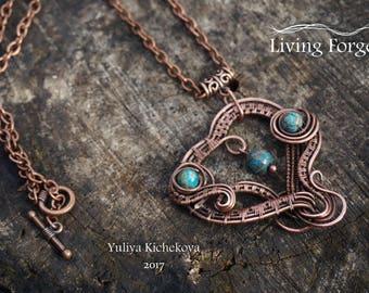 wire wrapped pendant, copper jewelry, wire wrap necklace, wire wrapped jewelry, wire pendant, artisan pendant, copper pendant, boho jewelry