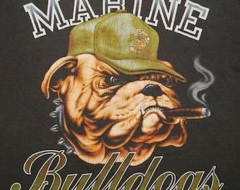 THE MOUNTAIN BULLDOG  DOG USMC MARINES MILITARY  ANIMAL  BIG FACE ADULT  T SHIRT