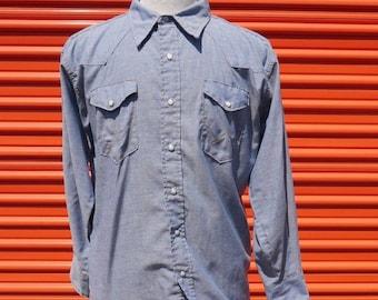 2e8b4fa4671 1960s Wrangler Sanforized Blue Chambray Western Shirt 17 x 34 Pearl Snap  Vintage