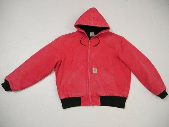 Vintage Carhartt Jacket Hoodie XL Distressed Red W