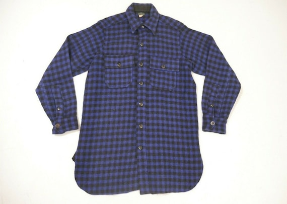 Vintage 30s Montgomery Ward Buffalo Plaid Blue Out