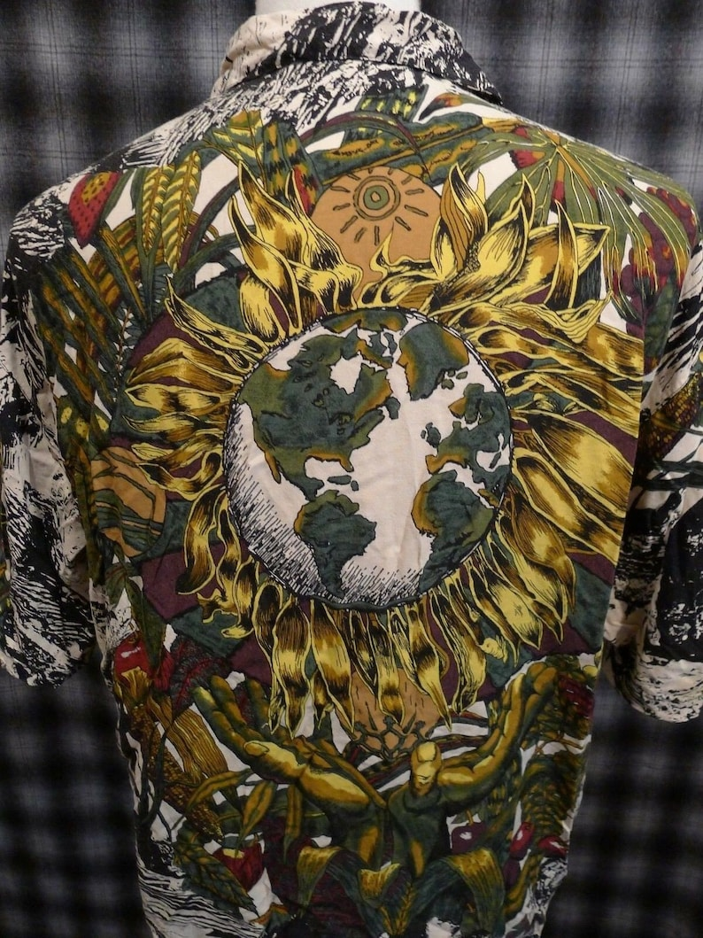 CAFE World ITALY Vintage Rayon Shirt L Art Print Sunflowers Planet Green Earth
