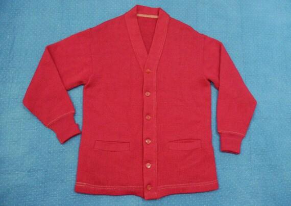 VINTAGE 50s Cherry Red Cardigan Sweater Men's M Ku