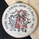 New! Fabric Embroidery Kit: Red Riding Hood modern embroidery pattern, little red riding hood, wolf, literature, forest, fairy tale, SSDGM