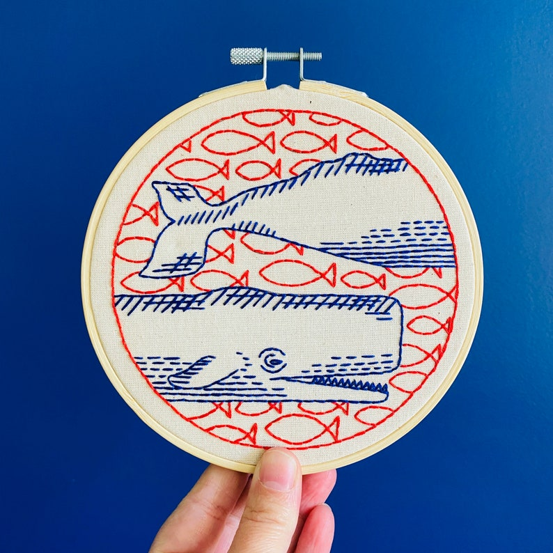 Whale Embroidery Kit beginner embroidery pattern DIY craft image 0