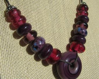 Purple Lampwork Glass Disc Bead Necklace, Purple Glass Bead Necklace, Large Purple Lampwork Glass Bead Necklace, Handmade Lampwork Necklace