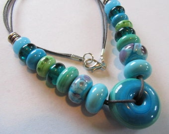 Turquoise Blue Lampwork Glass Bead Necklace, Blue Lampwork Glass Disc Bead Necklace, Blue Lampwork Necklace, Large Blue Disc Bead Necklace